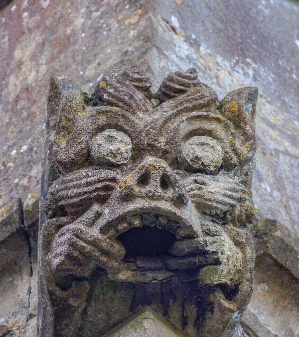 Moustachioed Gargoyles at Castle Cary